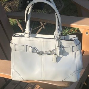 Coach white leather bag